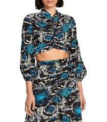 a.l.c. women's malley printed silk top - black blue - size 4