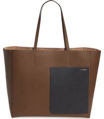 valextra leather tote - brown