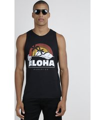 "regata masculina ""aloha"" gola careca preta"