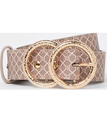 river island womens brown ri printed double ring buckle belt