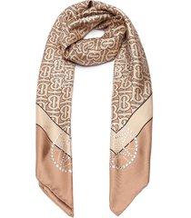 crystal embellished monogram silk scarf