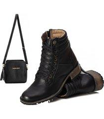 bota cano curto coturno confort couro e bolsa preto