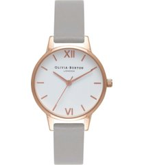 olivia burton women's gray leather strap watch 30mm
