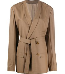 lemaire belted oversized blazer - brown