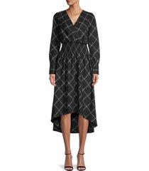 bcbgmaxazria women's windowpane check dress - black combo - size xxs