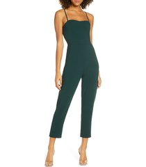 women's french connection whisper tapered leg jumpsuit, size 8 - green