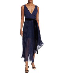 aiden asymmetrical pleated midi dress