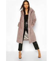 faux fur maxi coat, grey