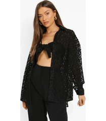 oversized geborduurde kanten blouse en bralette, black