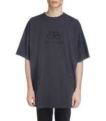 men's balenciaga longline logo t-shirt, size medium - black