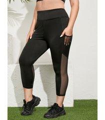leggings con diseño de patchwork de malla de talla grande yoins