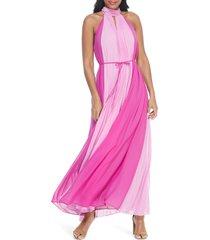 women's maggy london katerina colorblock halter neck maxi dress, size 6 - pink