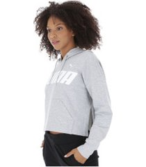 blusão com capuz puma modern sports - feminino - cinza claro