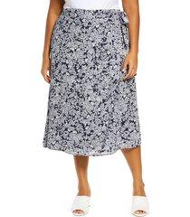 plus size women's caslon faux wrap midi skirt, size 1x - blue