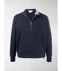 thom browne 4-bar intarsia half-zip sweatshirt