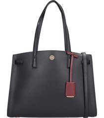 tory burch satchel tote in black leather