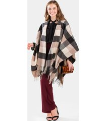 everette plaid sweater open poncho - camel