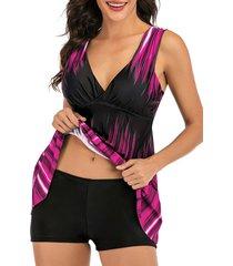 streak dye surplice-front tankini swimwear