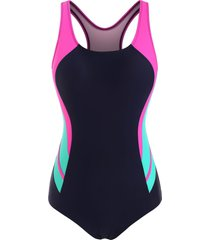 cutout racerback color blocking one-piece swimsuit