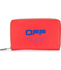 off-white logo print wallet - red
