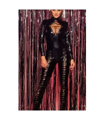 sexy col latexlook-jumpsuit met veter zwart
