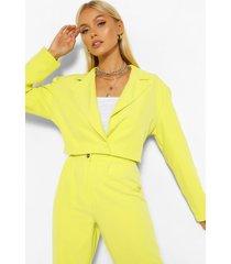 getailleerde korte blazer met schoudervulling, chartreuse