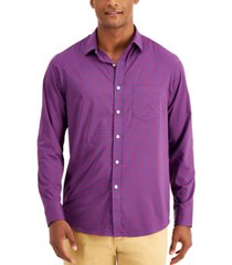 club room men's performance gingham check shirt with pocket, created for macy's