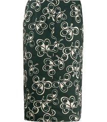 aspesi high-waisted all-over print skirt - green