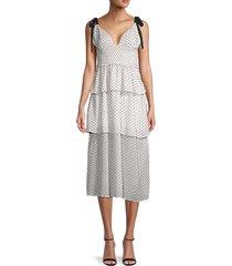 4si3nna women's paula swiss dot tiered dress - white black - size s