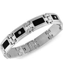 men's diamond (1/8 ct. t.w.) & black enamel bracelet in stainless steel