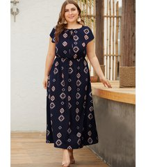 azul marino geométrico redondo cuello mangas cortas vestido