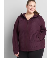 lane bryant women's livi quilted hooded jacket 18/20 plum