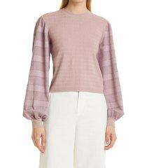 women's club monaco woven sleeve sweater, size xx-small - beige