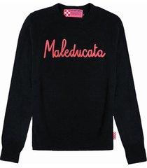 mc2 saint barth black woman sweater maleducata lurex embroidery