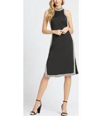mac duggal faux-pearl-trimmed knee-length dress