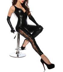 women sexy black faux leather wet look bodysuit catsuit jumpsuit