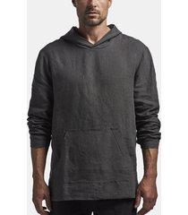 brushed belgian linen hoodie