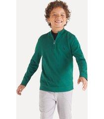 casaco tricot mini sm meio zíper inv20 reserva mini verde - kanui