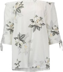 top off shoulder flowerprint wit
