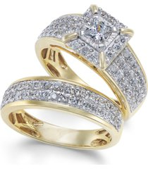 diamond princess pave bridal set (1-1/2 ct. t.w.) in 14k gold