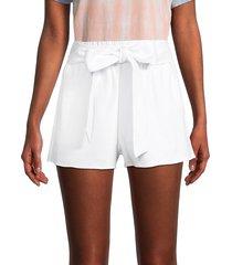 alice + olivia by stacey bendet women's linn paperbag waist linen-blend shorts - white - size s