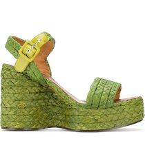 clergerie arum braided wedge sandals - green