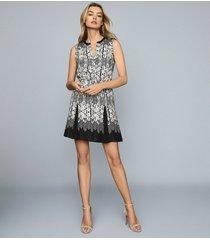 reiss antonia - printed mini dress in black, womens, size 14
