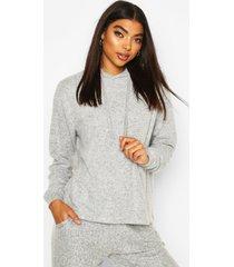 brushed jersey marl lounge hoodie, grey