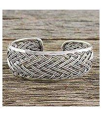 sterling silver cuff bracelet, 'silver weave' (thailand)
