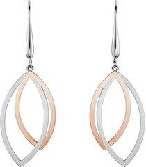 orecchini pendenti lady code acciaio bicolore foglia per donna