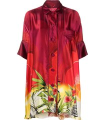f.r.s for restless sleepers abstract-print oversized blouse - red