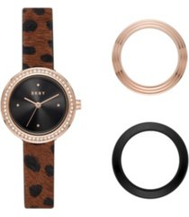 dkny women's sasha rose gold-tone stainless steel watch and toprings set, 29mm