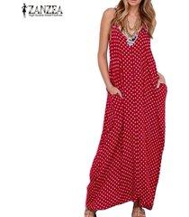 zanzea vestido largo sin manga algodón sexy elegante playa casual -rojo