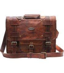 handmadew leather unisex real leather messenger bag for laptop briefcase satchel